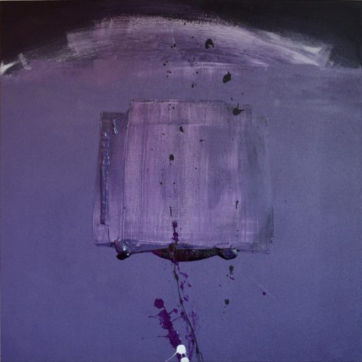 Translucent square in motion Painting purple colors mixed - AEQUUS painter Erica Hinyot art motion