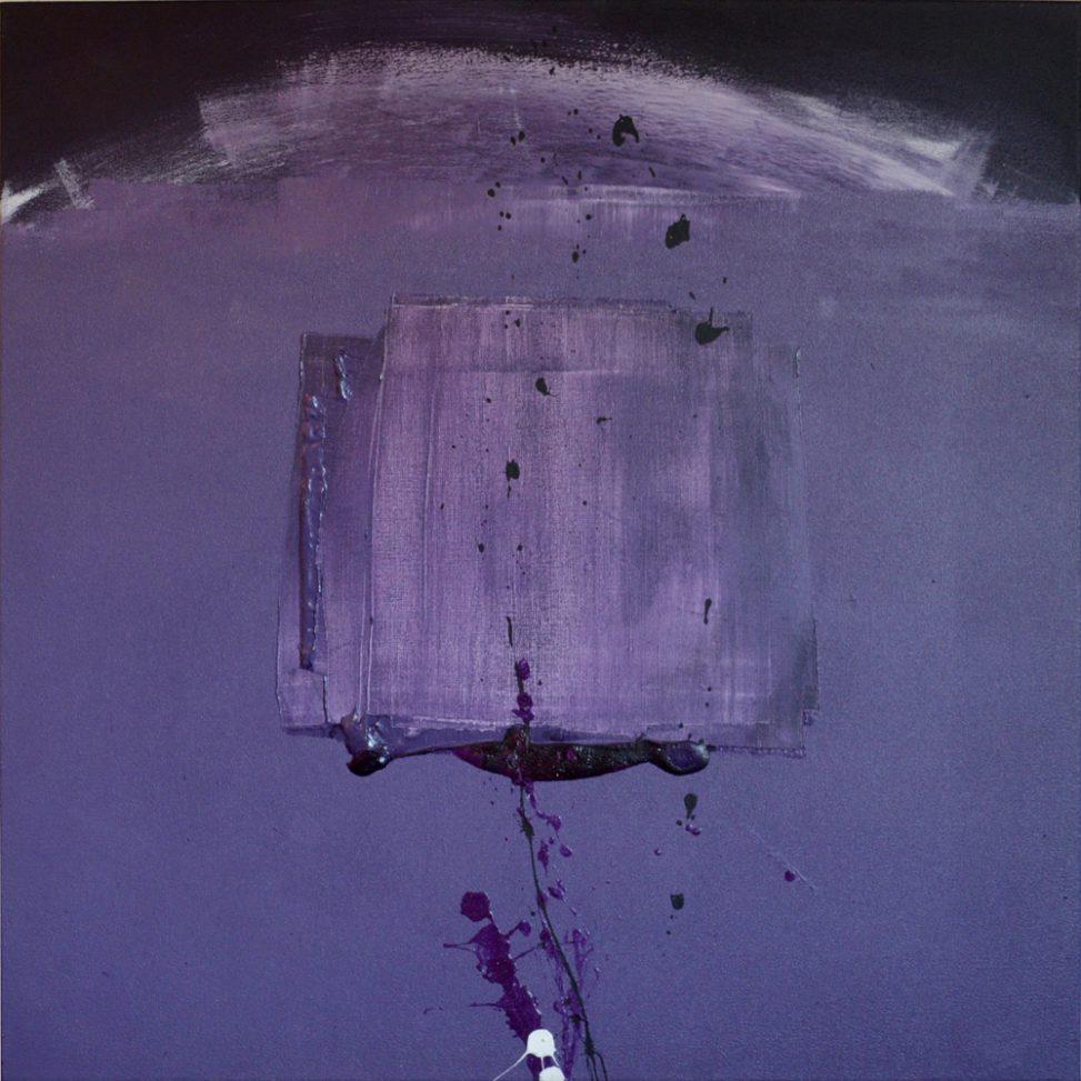 Translucent square in motion Painting purple colors mixed - AEQUUS painter Erica Hinyot art motion