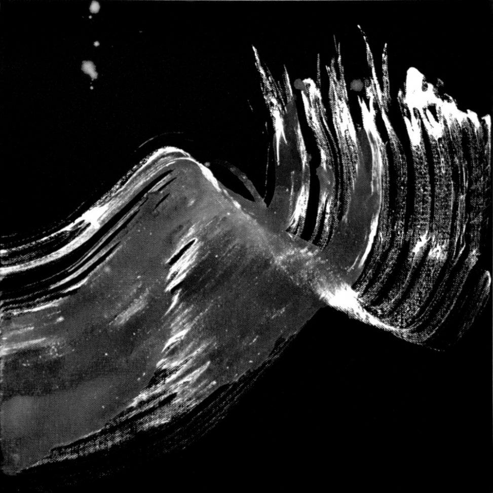 The free WAVE painting Erica Hinyot peinture blanche sur fond noir - peinture en mouvement - aerial painting Erica Hinyot