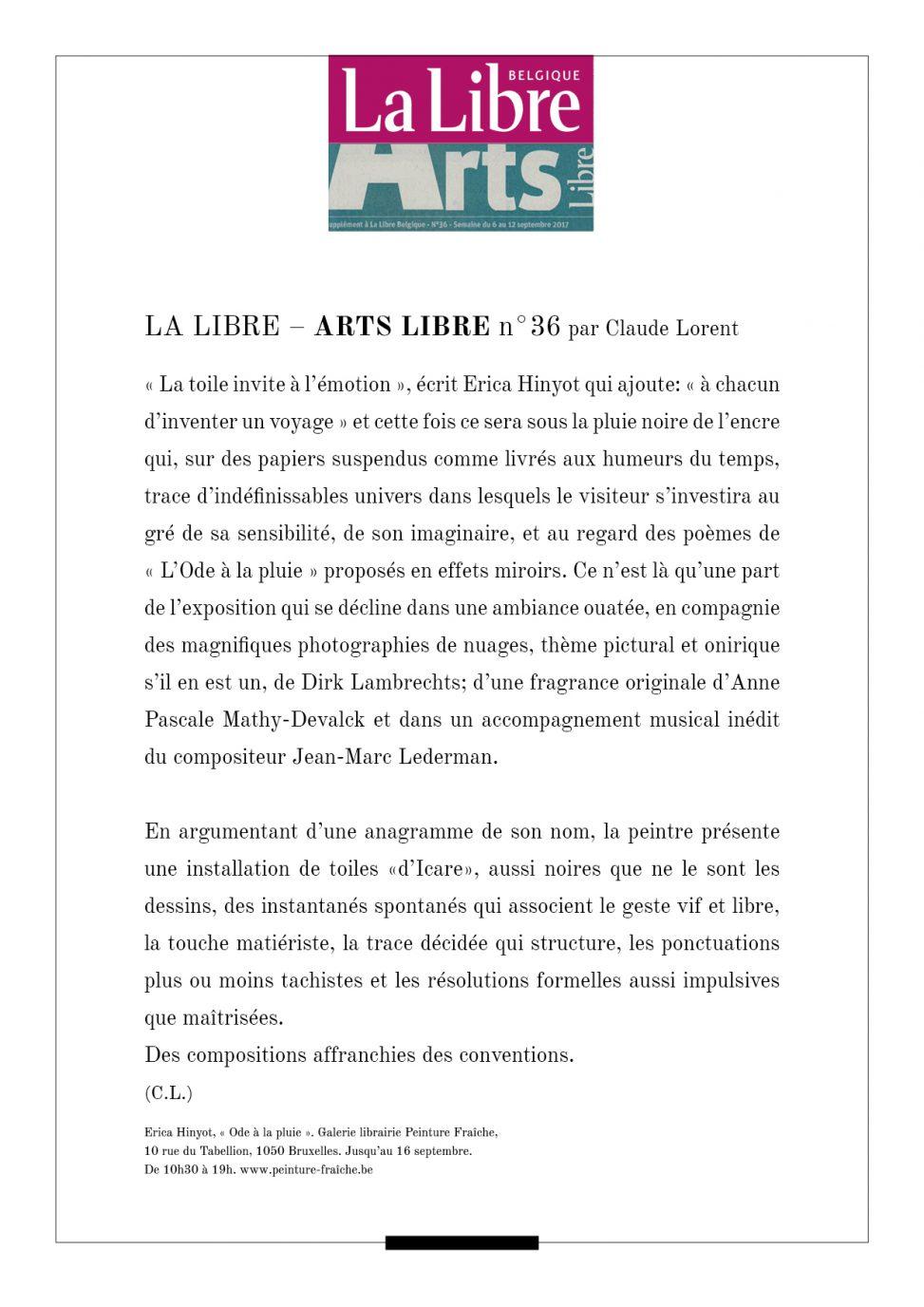 Texte ARTS LIBRE n°36 Pluie Noire C.L. ODE A LA PLUIE erica-icare.com