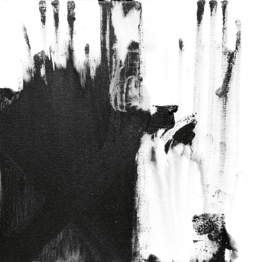 Lascaux - Painting black & white canvas Private collection exhibition Ode à la pluie erica-icare.com