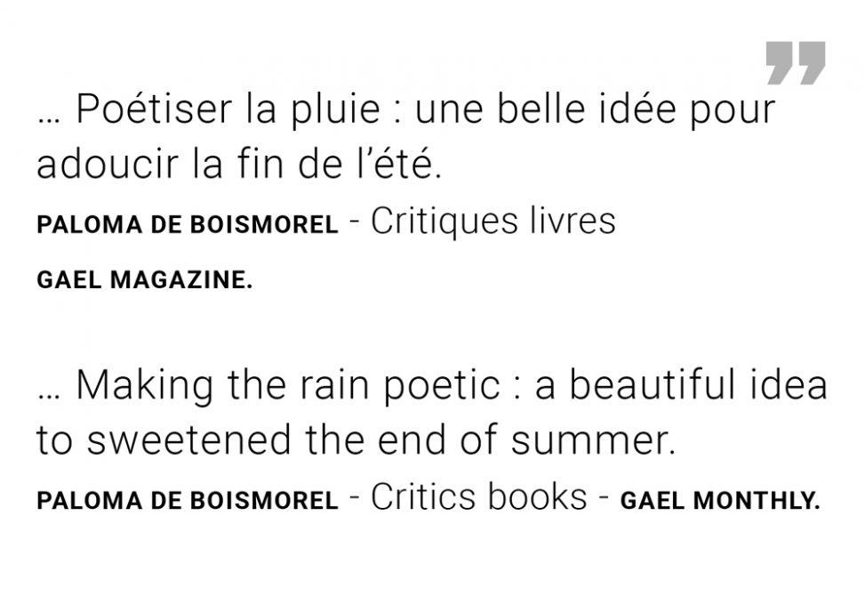 "Extract Agenda GAEL Paloma de Boismorel - Exhibition ""Ode to rain"" Gallery Peinture Fraîche Brussels."