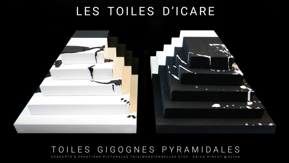 Towers Peace INSTALLATION LES TOILES D'ICARE artist Erica Hinyot Conceptions creations tridimensional designs Icarus canvases Les Toiles d'Icare Erica Hinyot ® www.erica-icare.com - Myth of Icarus paintings - Toiles gigognes pyramidales